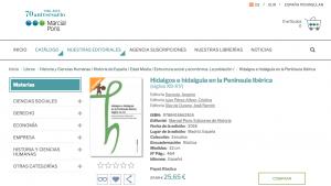 """Libro """"Hidalgos e hidalguía en la Península Ibérica"""" en Marcial Pons"""